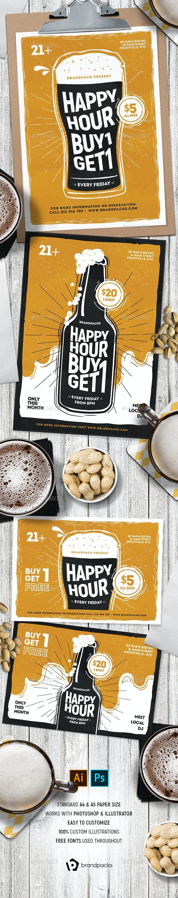 Happy Hour Flyer / Poster - Restaurant Flyers