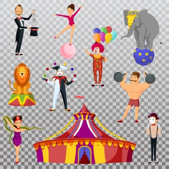 Circus Performers and Tent