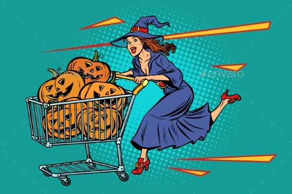 Halloween Witch With Shopping Cart Pumpkins - Halloween Seasons/Holidays