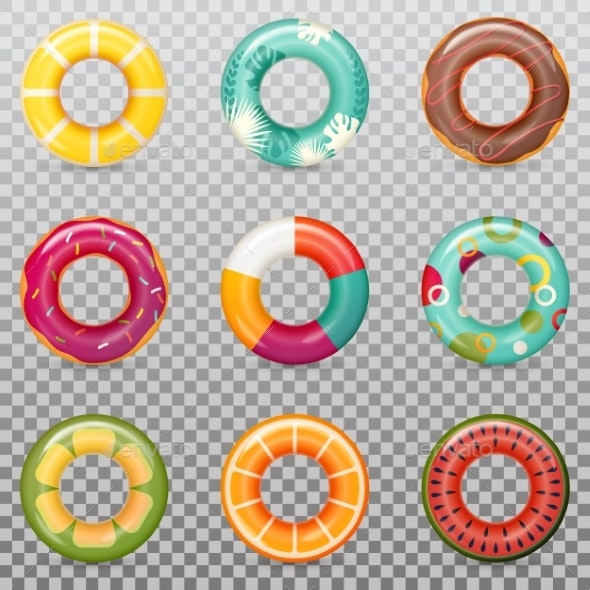Set of Isolated Rubber Swimming Rings - Man-made Objects Objects