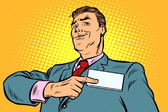 Businessman Points at a Name Badge - Concepts Business