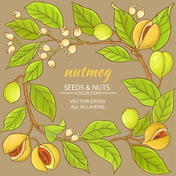 Nutmeg Vector Frame - Food Objects