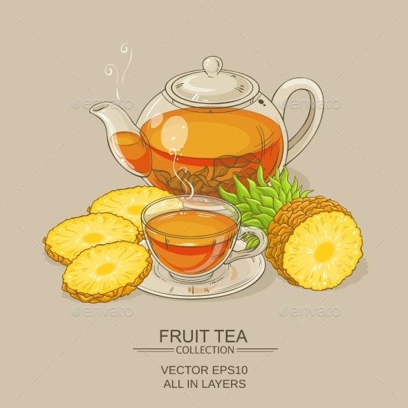 Pineapple Tea Illustration - Food Objects