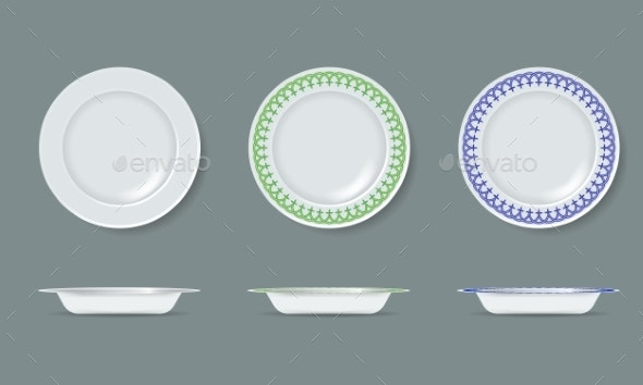 White Empty and Decorated Ceramic Plate Mock Up - Man-made Objects Objects