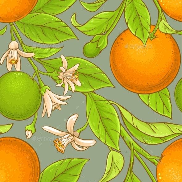 Orange Vector Pattern - Food Objects