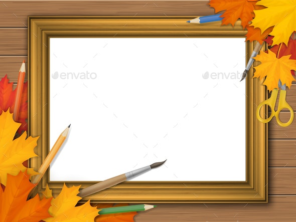 Picture Frame with Autumn Leaves and Art Supplies - Miscellaneous Vectors