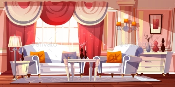 Lounge Room Luxury Interior Vector Illustration - Man-made Objects Objects