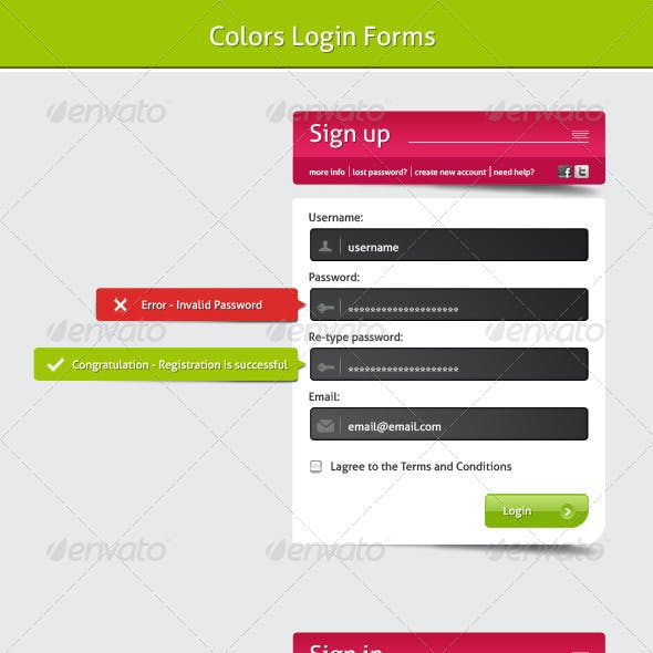 Colors Login Forms