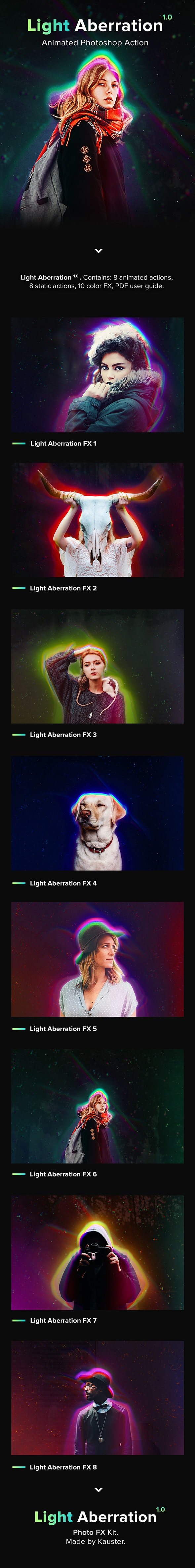 Animated Light Aberration - Photoshop Action - Photo Effects Actions