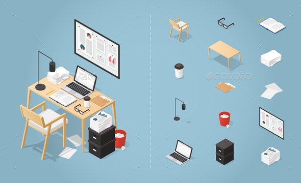 Isometric Office Desk Set - Business Conceptual