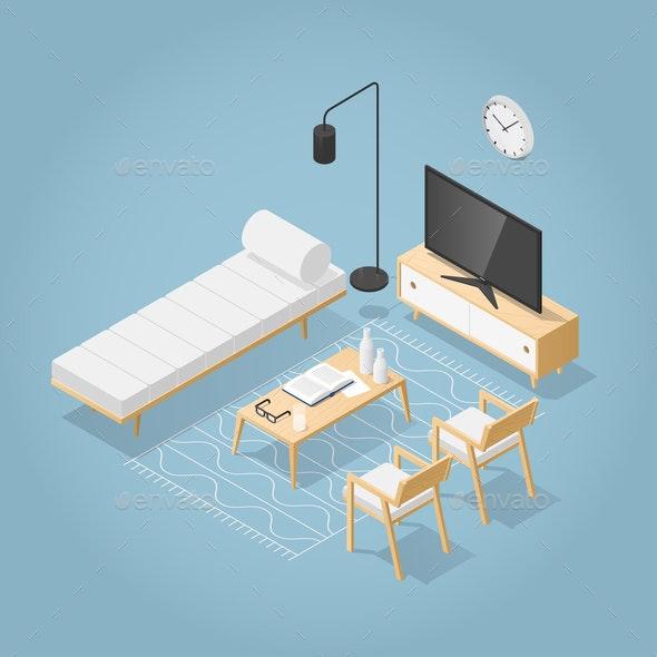 Isometric Living Room Illustration - Miscellaneous Vectors