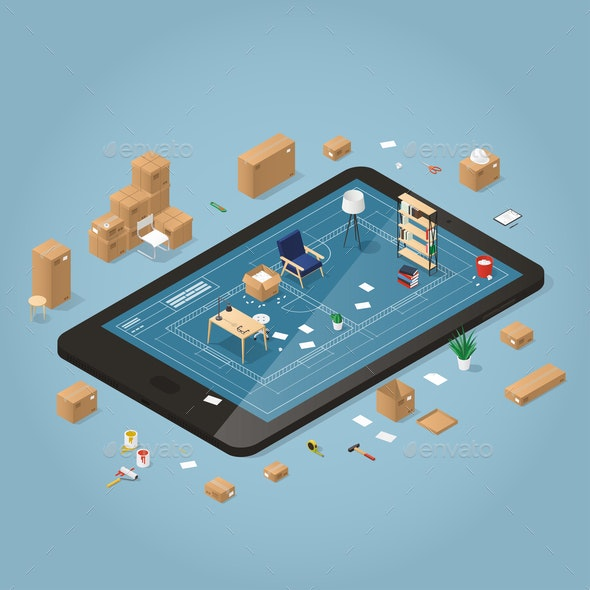 Online Moving Planning Illustration - Objects Vectors