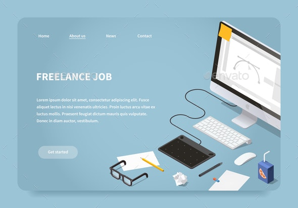 Isometric Freelancer Job Landing Page - Computers Technology