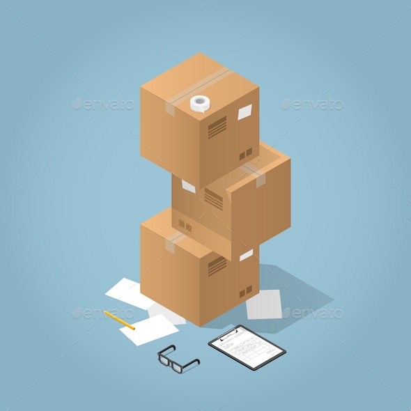 Vector Package Delivery Illustration - Objects Vectors