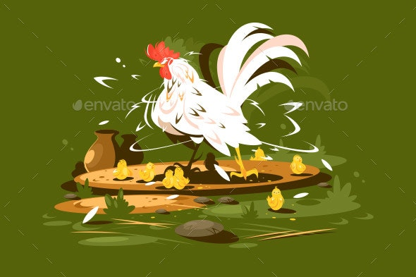 Rooster with Yellow Chickens - Animals Characters