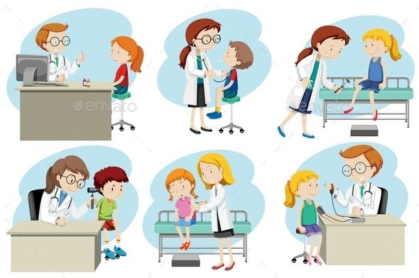 A Set Of Doctor Medical Care - People Characters