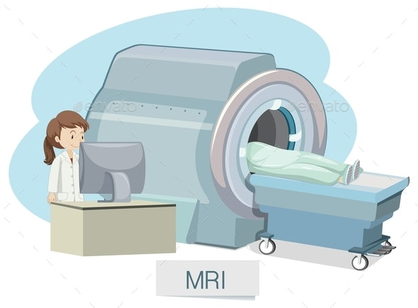 MRI Scanning On White Background - People Characters