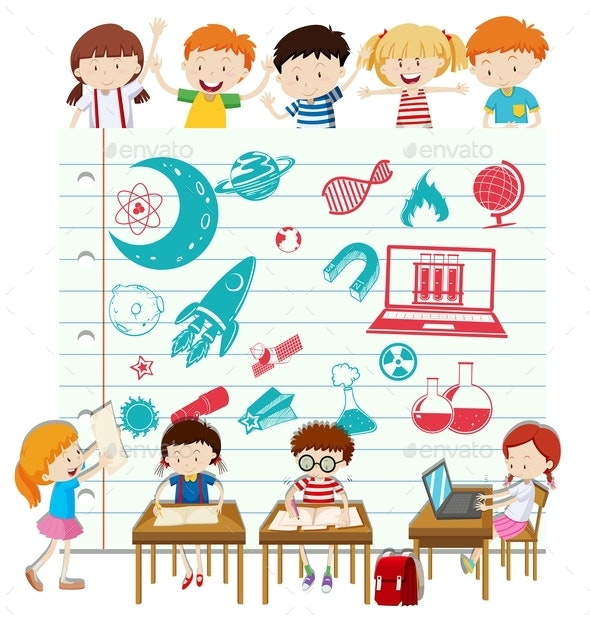 Children Doing Science At School - People Characters