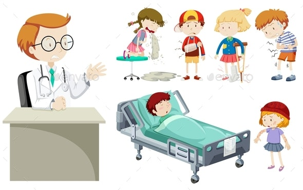 Vector Of Different Illness And Doctor - People Characters