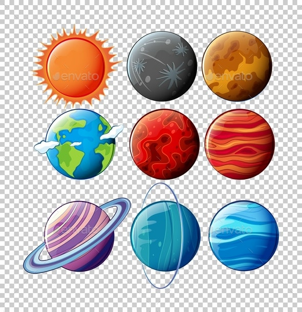 Different Planets In Solar System On Transparent Background - Nature Conceptual