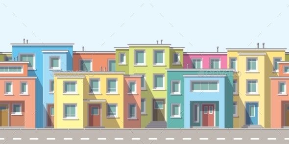 Modern Houses In The Suburb - Buildings Objects
