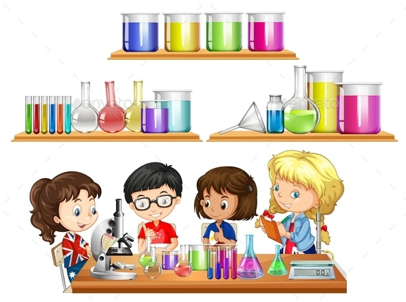 Kids Doing Science Experiment And Set Of Beakers - People Characters