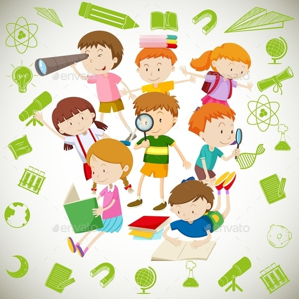 Group Of Children Reading And Learning - People Characters