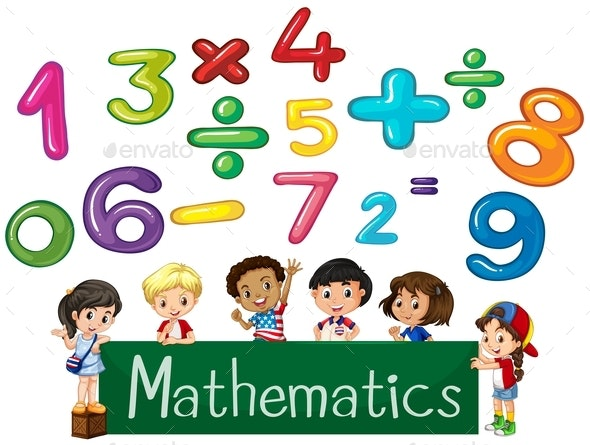 Colored Numbers And Children Mathematics - People Characters