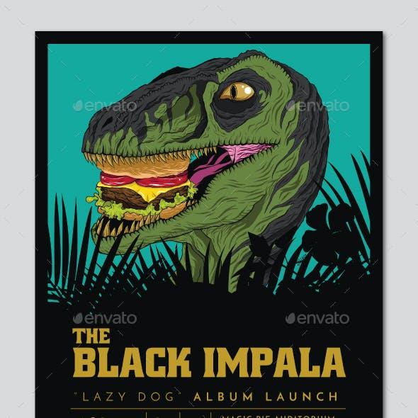 Raptor Burger Indie Band Flyer Poster