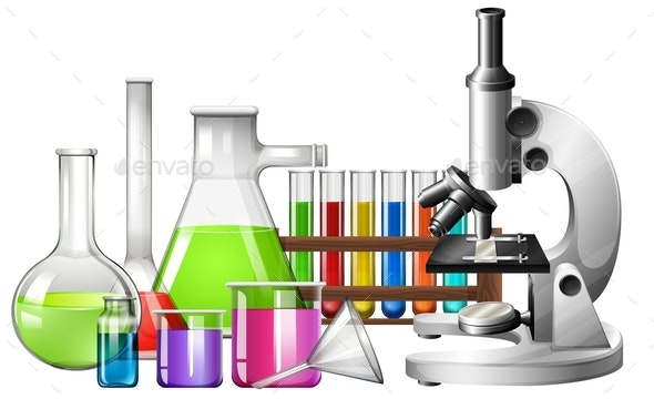 Science Equipment with Microscope and Beakers - Man-made Objects Objects