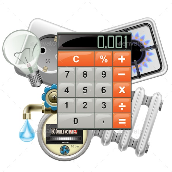 Vector Utilities Payments Concept with Calculator - Concepts Business