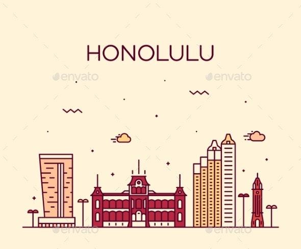 Honolulu Hawaii USA Vector Illustration Line Style - Buildings Objects
