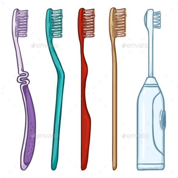 Vector Set of Cartoon Toothbrushes - Miscellaneous Vectors