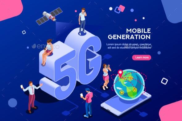 Mobile Generation Isometric Banner - Miscellaneous Vectors