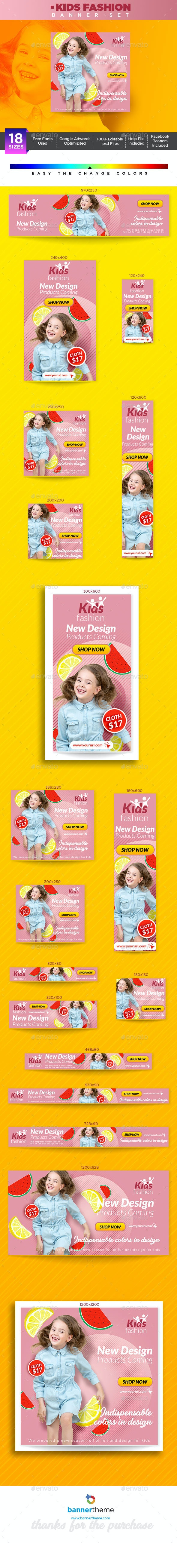 Kids Fashion Banner - Banners & Ads Web Elements
