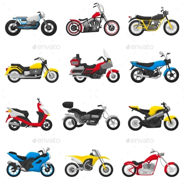 Motorcycle Vector Motorbike and Motoring Cycle - Man-made Objects Objects