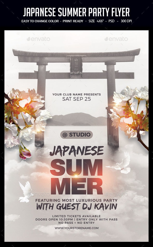 Japanese Summer Party Flyer - Clubs & Parties Events