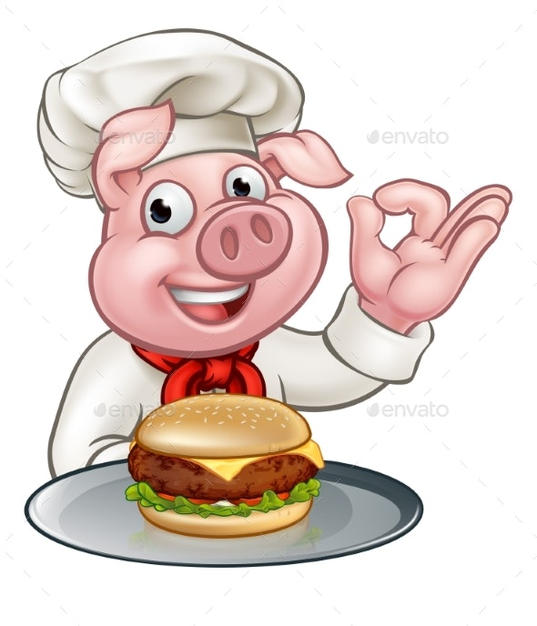 Pig Chef Holding Burger Cartoon Character - Food Objects