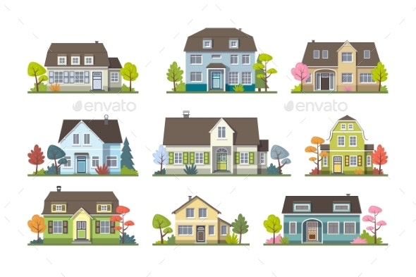 Set of Classic Cottage House Front View - Buildings Objects