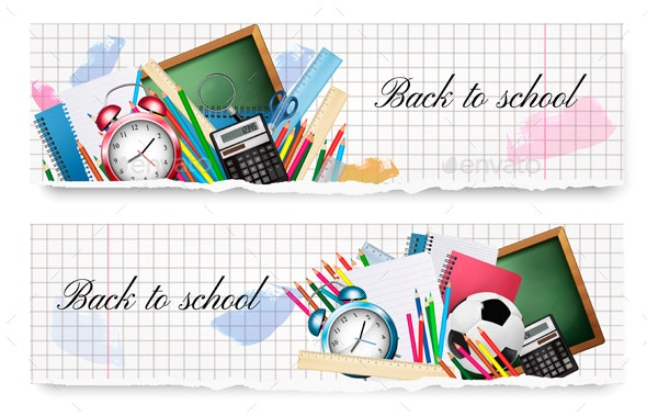 Two Back to School Banners With School Supplies - Miscellaneous Conceptual