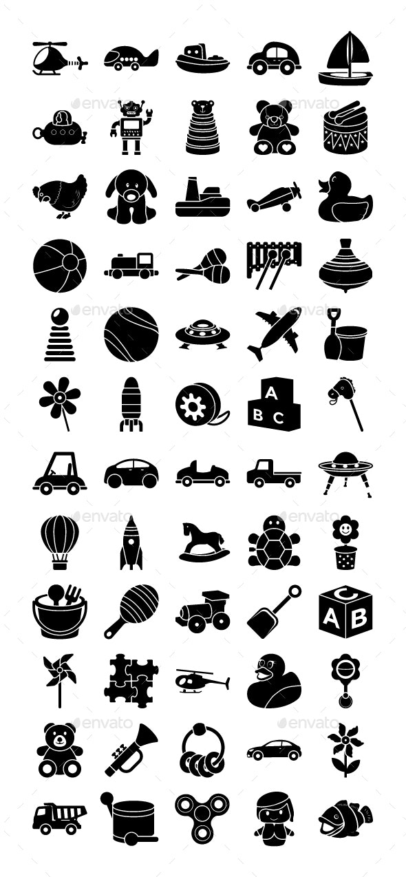60 Toys Vector Icons - Icons
