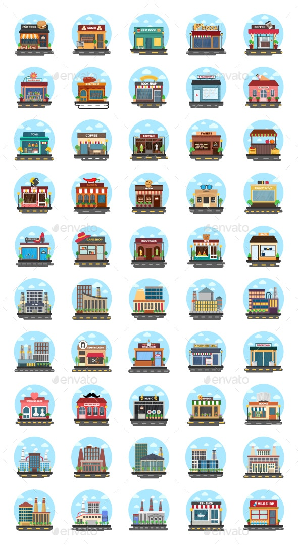 50 Store and Buildings Flat Icons - Icons