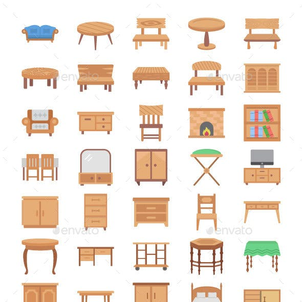80 Wooden Furniture Flat Icons