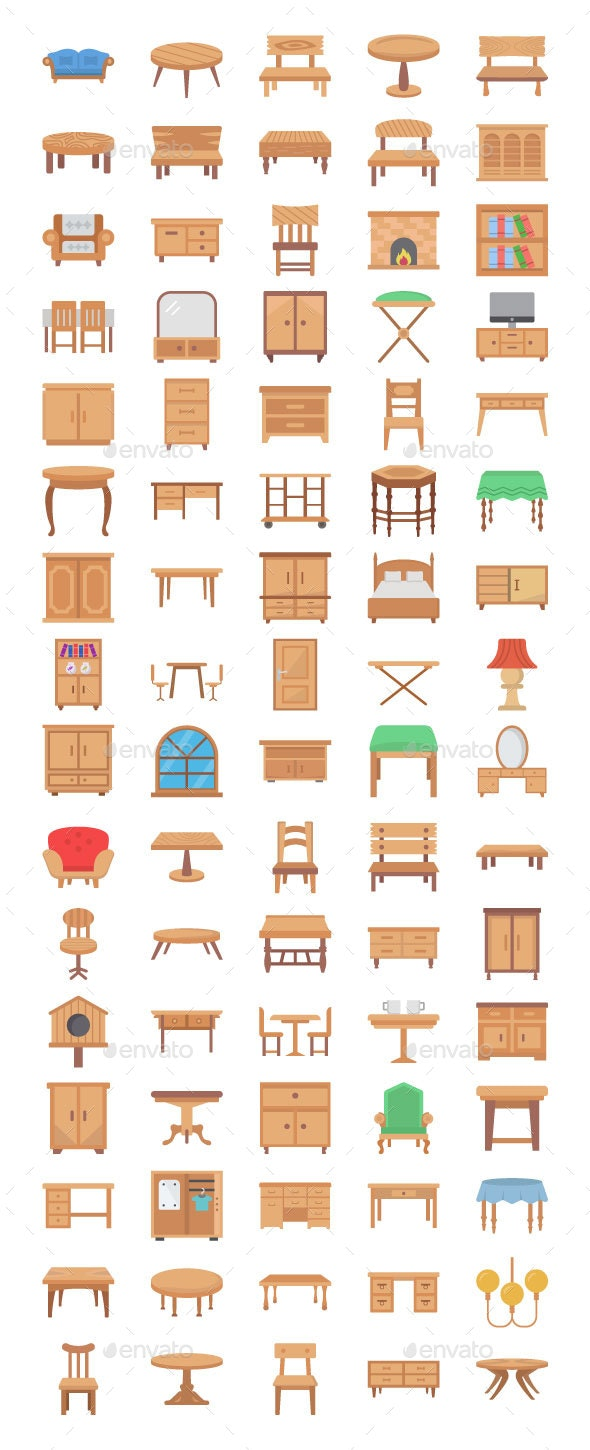 80 Wooden Furniture Flat Icons - Icons