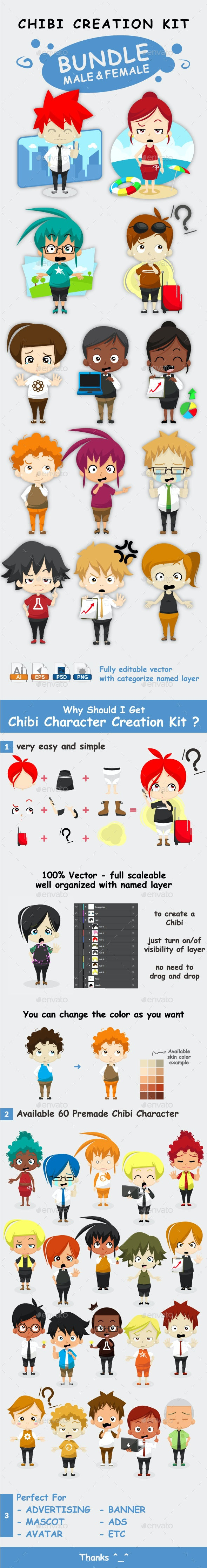 Chibi Character Creation Kit Bundle - People Characters