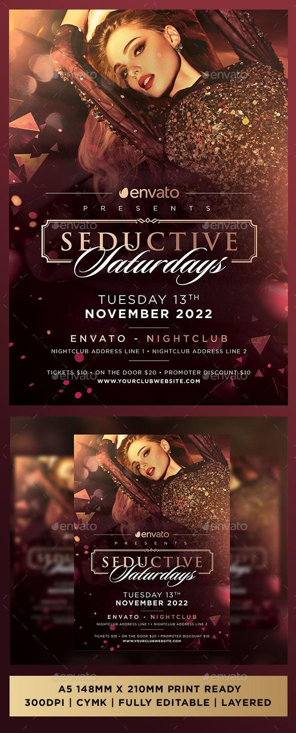 Seductive Saturdays Luxury Premium Sexy Club Event Flyer - Clubs & Parties Events