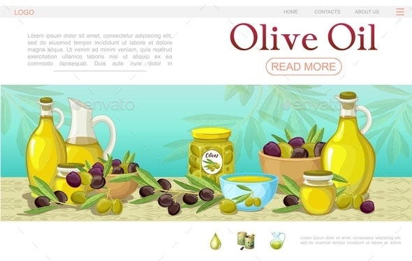 Cartoon Olive Oil Web Page Template - Food Objects