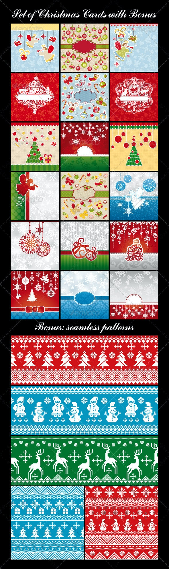 Set Of Different Christmas And New Year Cards - Christmas Seasons/Holidays