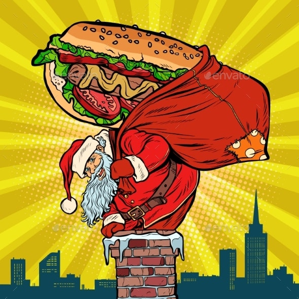 Santa Claus with a Hot Dog Climbs the Chimney - Christmas Seasons/Holidays