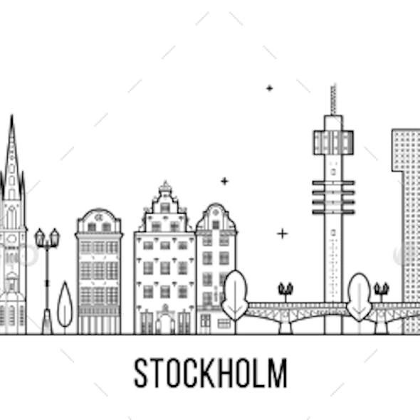 Stockholm Skyline Sweden Vector Big City Buildings